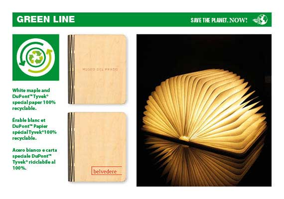 Eco folding book with rechargeable USB light